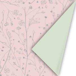 Kadopapier | Botanisch roze / groen