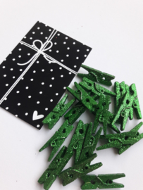 Knijper | groen glitter | 2,5 cm | 10 stuks