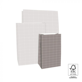 Blokbodemzak | Grid grijs S | 5 stuks