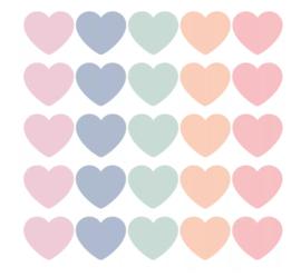 Stickers | Hart pastel mix | 10 stuks