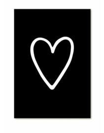 Kadokaart | Zwart wit hart