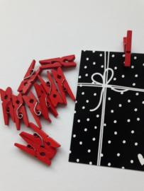 Knijper | rood | 2,5 cm | 10 stuks