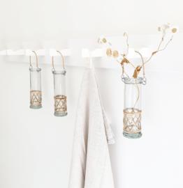 Glazen hang vaasje met bamboe IB Laursen