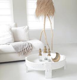 Old wooden Chakki table white