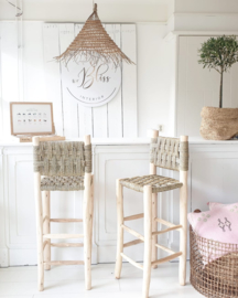 Moroccan bar stool seagrass with backrest