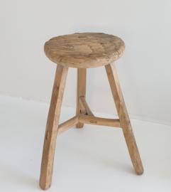 Oude houten ronde kruk 3