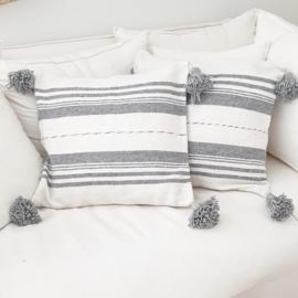Pompom kussen stripe Grey