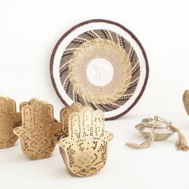 Wax holder Hand Filligrain pattern double gold
