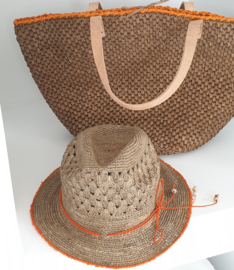 Elisabeth Hat Tea/orange Made in Mada