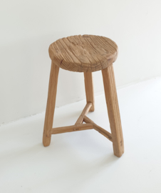 Old round wooden stool 7