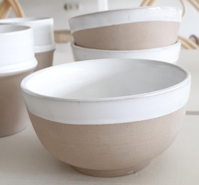 Natural/White ceramic bowl