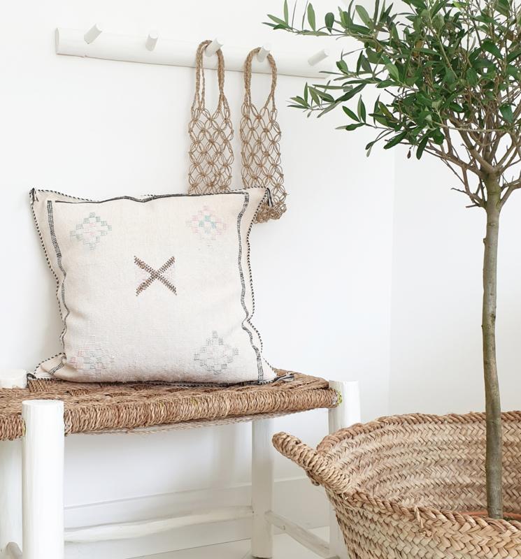 Sabra Silk kussen Naturel/off White