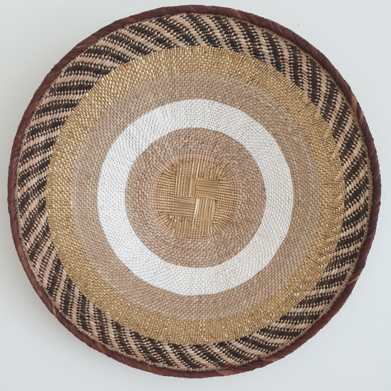 Tonga basket Gold striped L 6
