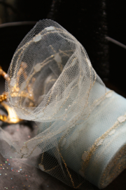 Soft tulle fabric ribbon, perfect for decorating your favorite bear. Pale sea foam blue.