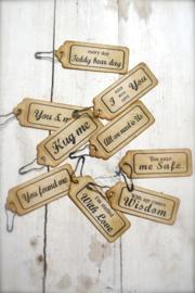 Decoration Hang Tags, Set mit 9 verschiedenen Zitate.