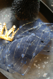 Soft tulle fabric ribbon, perfect for decorating your favorite bear. Navy Blue with gold..