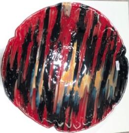 Schaal 11 -  lijnen - rood/zwart/blauw/honing - groot- GERESERVEERD