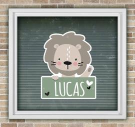 Geboortebord raam - Leeuwtje *Kies je kleur*