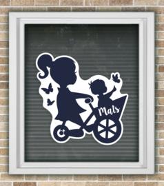 Geboortesticker Silhouette grote zus met broertje *Kies je kleur*