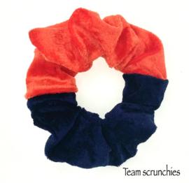 Team scrunchie Oranje/Donkerblauw