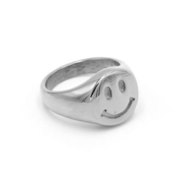 RING SMILEY - ZILVER