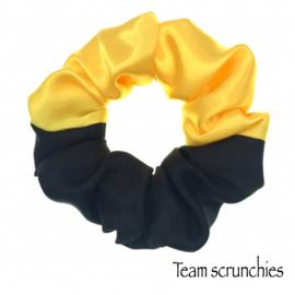 Team scrunchie Geel/Zwart - satijn