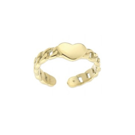 RING CHAINED HEART - GOUD