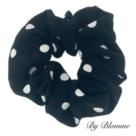 Scrunchie zwart met witte stippen