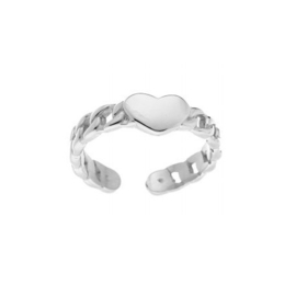 RING CHAINED HEART - ZILVER