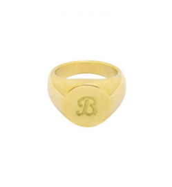 LETTER RING BY BLOMME - GOUD