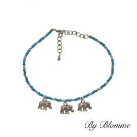 Blauw enkelbandje met olifantjes