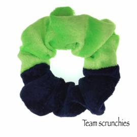 Team scrunchie Lichtgroen/Donkerblauw