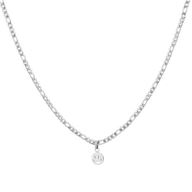 CHAINED KETTING SMILEY - ZILVER