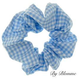Scrunchie blauw wit geruit