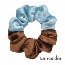 Team scrunchie Babyblauw/Bruin