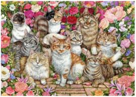 Falcon de Luxe 11246 - Floral Cats - 1000 stukjes