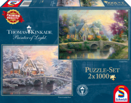 Thomas Kinkade - Lamplight Manour/Winter in Lamplight Manour - 2x1000 stukjes