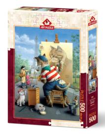Art Puzzle - Painter Cat - 500 stukjes
