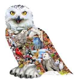 SunsOut 96076 - Snowy Owl - 650 stukjes  Vormpuzzel