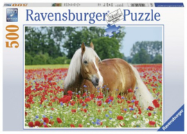 Ravensburger - Paard Tussen De Klaprozen - 500 stukjes