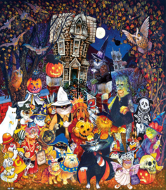 SunsOut 21878 - Cats and Dogs on Haloween - 300XL stukjes