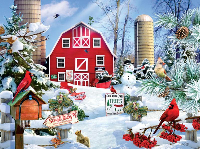 SunsOut 35013 - a Snowy Day on the Farm - 300XL stukjes