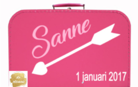 Koffertje met naam en geboortedatum