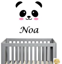 Muursticker panda met naam
