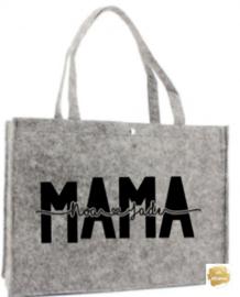 Vilten tas mama/oma met namen van kinderen/kleinkinderen