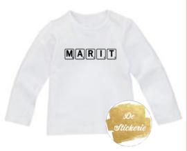 Shirt naam scrabble letters