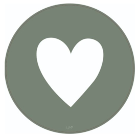 Muurcirkel hart - 40 cm - groen