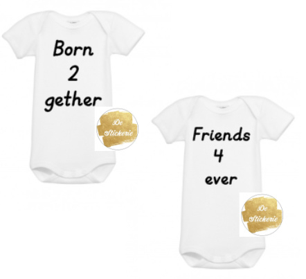 Tweeling romperset born together friends forever