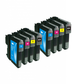 Huismerk Brother LC980/LC985/LC1100 cartridge set 8-pack met chip
