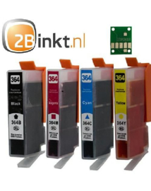 Huismerk HP 364XL cartridges set 4-pack met chip